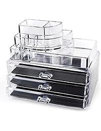 Home-it soporte acrílico transparente cosméticos de diseño con 3cajones pecho o Make Up caso Lipstick Liner Brush Holder Organizador