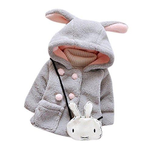Bekleidung Longra Baby Kleinkind Mädchen Fell Winter warme Kapuzen Mantel winterjacke Kinderjacken Dicke warme Kleidung (0-24 Monate)