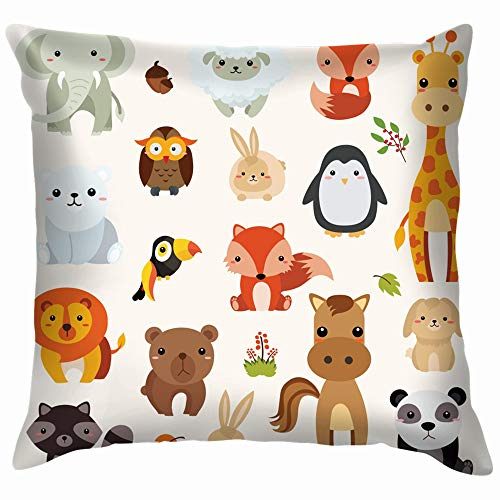 beautiful& Illastrator Zoo Animal Cartoon Animation Animals Wildlife Cute Pillow Case Throw Pillow Cover Square Cushion Cover 18X18 Inch