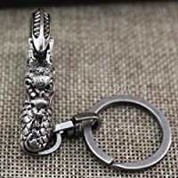 Creative Zodiac dragón llave hebilla, hebilla de metal colgando de automovil clave personaje masculino,