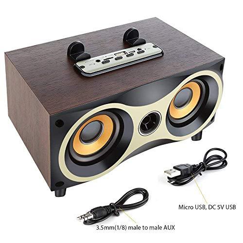 Desktop tragbare hölzerne drahtlose Lautsprecher Subwoofer Stero Bluetooth-Lautsprecher unterstützen TF MP3-Player mit FM-Radio, Handyhalter (Stereo-lautsprecher Bookshelf)
