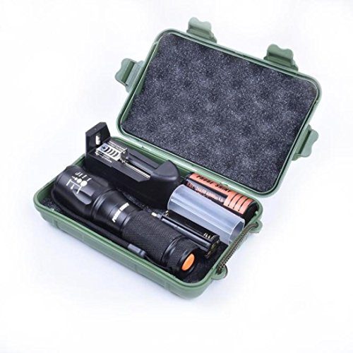 Taschenlampen 3000 Lumens, Xjp Aluminium Tactical LED Flashlight Torches Kit with 26650 Battery, Charger, Case