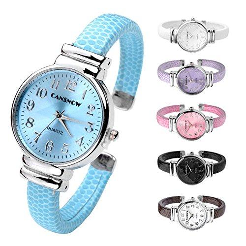 JSDDE Uhren,Damen Armbanduhr Chic Manschette Rund Damenuhr Spangenuhr Schlage Haut Band Armbanduhr Quarzuhr(Kaffee) - 5