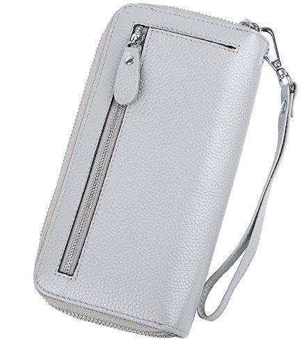 5d037c3720 YALUXE Portafoglio lungo RFID Blocking in Vera pelle 24 Slot per Porta  carte Credito e Tasca