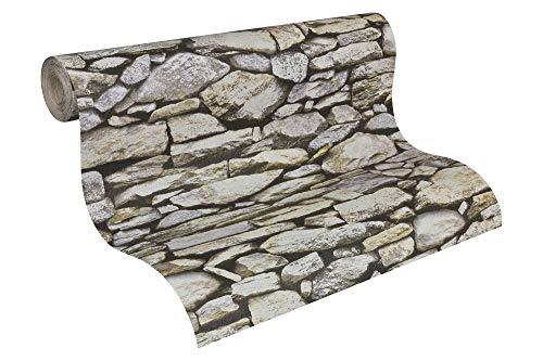 A.S. Création Papiertapete Dekora Natur Ökotapete Tapete in Naturstein Optik 10,05 m x 0,53 m beige grau schwarz Made in Germany 958202 95820-2