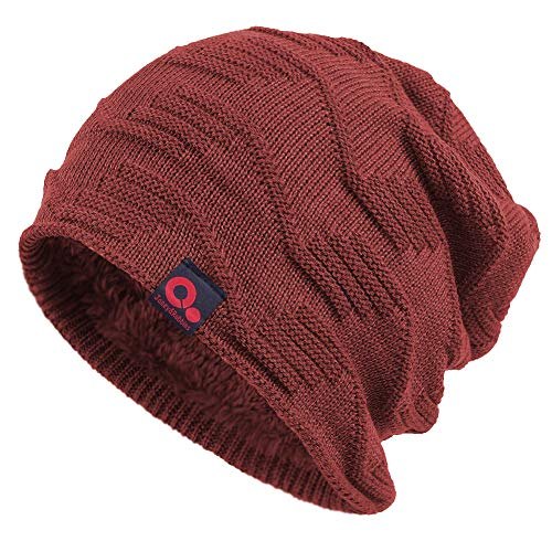 15840862d07 Janey Rubbins Winter Baggy Slouch Style Beanie Fur Lined Stocking Skull Cap  Knit Ski Hat (Red