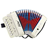 Eastar 10 Tasten Akkordeon Kinder Ziehharmonika für Kinder, Weiß