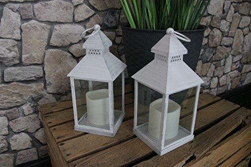 2er Set (= 2 Stück) Romantisch dekorative LED Laternen 24 cm x 10 cm - in WEISS - mit LED - Kerze flackernd - inklusive Timer - für Innen und Außen - Bereich - OUTDOOR - NEU - aus dem KAMACA-SHOP