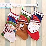 Weihnachtsstrumpf 3er Set, große Weihnachtssocke Christmas Stocking Beutel Hängende Strümpfe- Schneemann, Weihnachtsmann, Bär, große Größe Xmas Weihnachtsstrümpfe Party Kinder Home kamin Dekore