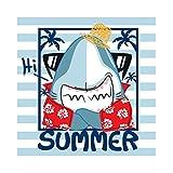 Cassisy 1,8x1,8m Vinile Foto da Sfondo ESTATE Banner Divertente Baby Shark Sfondo a righe Cornice per foto Fondali Fotografia Partito Bambini Photo Studio Puntelli Photo Booth