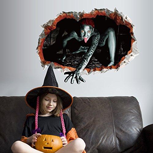 ber Fensteraufkleber Glas Aufkleber Sk6044 Halloween Alien weiblichen Geist Spukhaus Horror Atmosphäre Szene Glaswand ()
