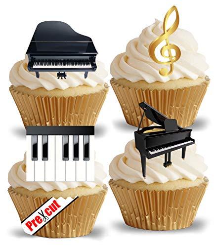 Vorgeschnittene Klavier-Dekoration für Cupcakes, Kuchen, Dessert-Aufsätze, essbar, für Partys, Geburtstag, Hochzeit, Musikschlüssel-Deko (Klavier-musik-dekorationen)