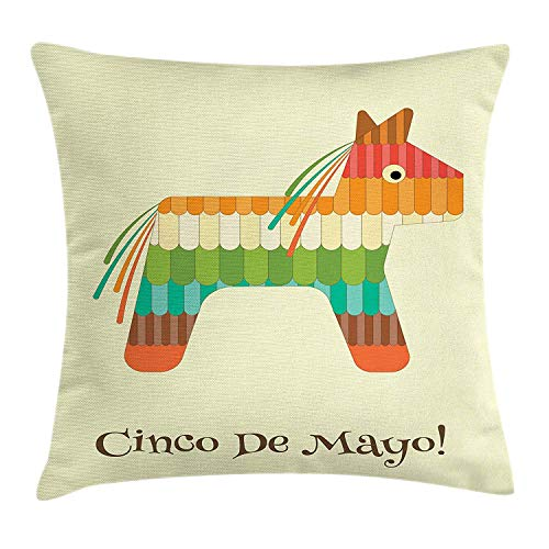 WYICPLO Cinco De Mayo Throw Pillow Cushion Cover, Colorful Mexican Pinata Horse Figure for Candy Breaking Entertainment Theme, Decorative Square Accent Pillow Case, 18 X 18 inches, Multicolor