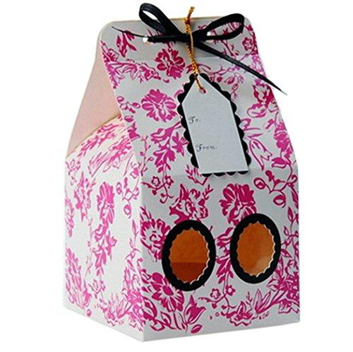 Ibex Retail 10x Cupcake Boxes für 1Kuchen Blume Muster mit Schleife und Namensschild