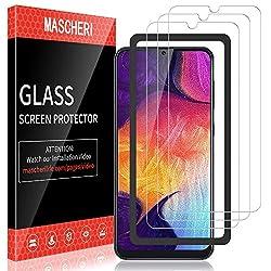 MASCHERI Schutzfolie für Samsung Galaxy A50 Panzerglas, [3 Stück] [Ausgestattet mit einem Einbaurahmen] Displayschutz Displayschutzfolie Glas Panzerglasfolie für Samsung A50 2019