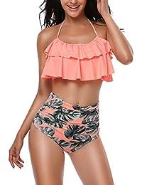 Aikuyo Traje de Baño Mujer 2018, Monokini Push Up Bikini Conjunto Bañador de Cintura Alta, Tankini Ropa de Baño para Playa