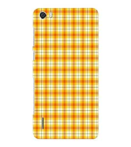 EPICCASE yellow checks Mobile Back Case Cover For Huawei Honor 6 Plus (Designer Case)