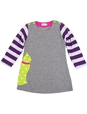 Rebavl Mädchen Baumwolle Langarm Kleider T-shirt Streifen Tiere Mustern Crewneck Lose Oberteil Größe 86-116
