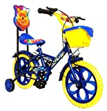 #5: Loop Bikes Unisex Loop Cycles Blue Yellow Master Blaster Y Frame 14 Inches Bicycle For Kids 3 to 5 Years With Side Wheels & Basket (Blue:Yellow)