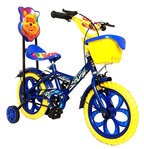 Loop Bikes Unisex Loop Cycles Blue Yellow Master Blaster Y Frame 14 Inches Bicycle For Kids 3 to 5 Years With Side Wheels & Basket (Blue:Yellow)