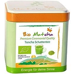 BIO MATCHA-Tee CEREMONIAL GRADE - Gourmet Tencha Schattentee (jetzt laborgeprüft!) - Premium Organic Grüntee Pulver (handgepflückt und auf stein gemahlen) 50g Schmuckdose