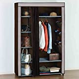 LI JING SHOP - Two colors Cloth Curtains wardrobe wardrobe Pole storage storage box ( Size : 111*50*175CM )