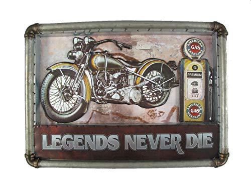 TD Nostalgie Blechschild Motorrad Zapfsäule USA Retro Metallschild 54 x 38 cm Legends Never die