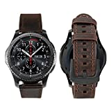 Gear S3 Bracelet iBazal Gear S3 Frontier Classic Bandes Montre 22mm Cuir Compatible Galaxy Watch 46mm,Huawei Watch GT/Honor Magic/2 Classic,TicWatch Pro,Amazfit,Pebble,Garmin,Fossil,Moto - Café Simple