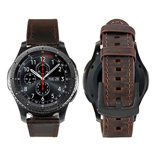 iBazal 22mm Armband Leder Uhrenarmband Armbänder Ersatz für Samsung Gear S3 Frontier/Classic SM-R760/770,Galaxy Watch 46mm SM-R805/800, Huawei GT/Honor Magic/2 Classic,Ticwatch Pro Herren Band -Kaffee