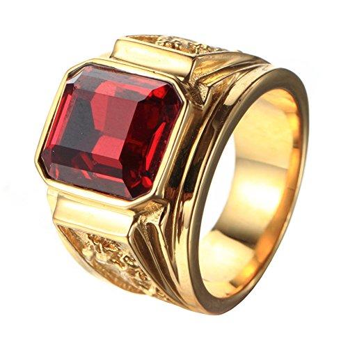 PMTIER Herren Edelstahl Drachen Muster Einfach Platz Edelstein Ringe Band Gold, Rot Größe 60 (19.1) - Versprechen Herren Gold Ring