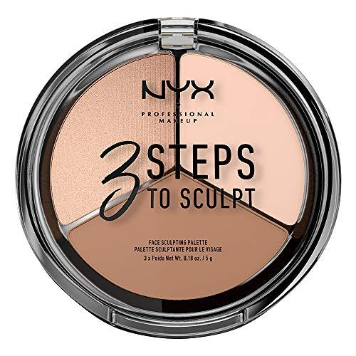 NYX Professional Makeup Paleta de Contouring & Iluminador 3 Steps to Sculpt Face Sculpting Palette tono 1 Fair color Beige
