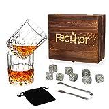 Fecihor Whisky Gläser Set 2 Kristall Weinglas und Whiskey Stones Cool Drink Tumblers Whisky Liebhaber Geschenk für Papa, Ehemann, Männer