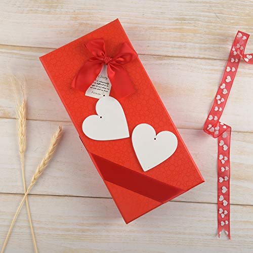 TUPARKA 40 Pcs 50mm White Wooden Hearts Hanging Heart Decoration Wooden Heart Embellishments for Valentine's Day Wedding Party DIY Craft Pendants