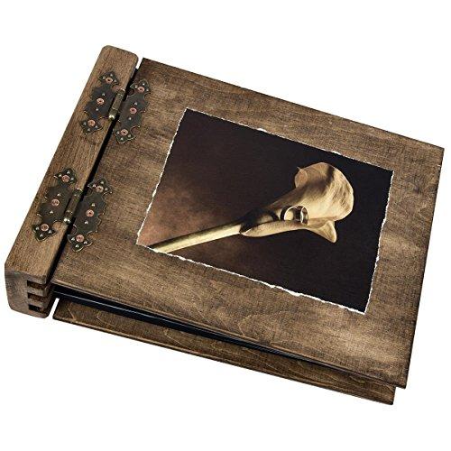 Album fotografico in legno con immagine di calla e 2 anelli in sepia, 75 fogli interni neri