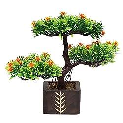 Random Artificial Potted Bonsai 3 Headed Tree Orange Flowers
