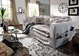 MASSIVMOEBEL24.DE Sofa XXXL Hussensofa Hampton Bezug Weiß Big Sofa Weiß