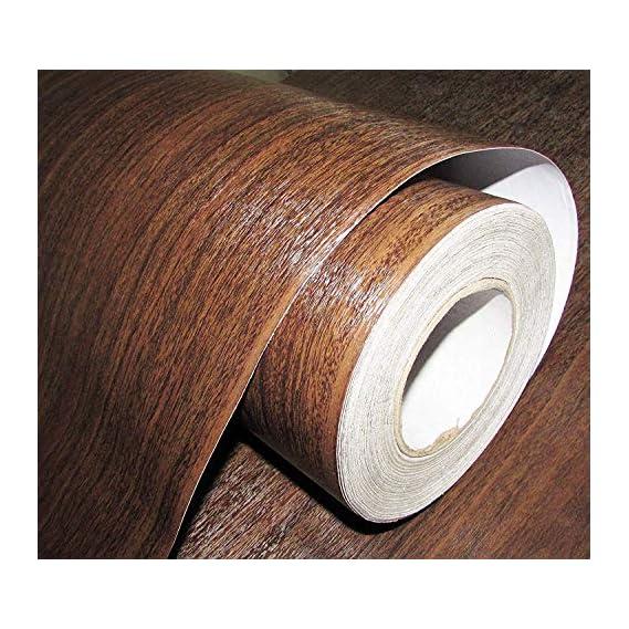 Fusion Graphix Self Adhesive Wood Grain Wallpaper Waterproof Old Furniture Vinyl Stickers Wooden Door Wardrobe Desktop PVC Wall Papers (12'x100inch)