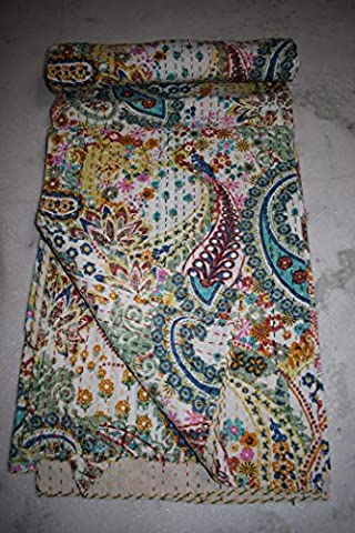 Kantha Paisley Print Quilt, Handmade Kantha Decorative Bed-cover, Twin Size Traditional Kantha Blanket