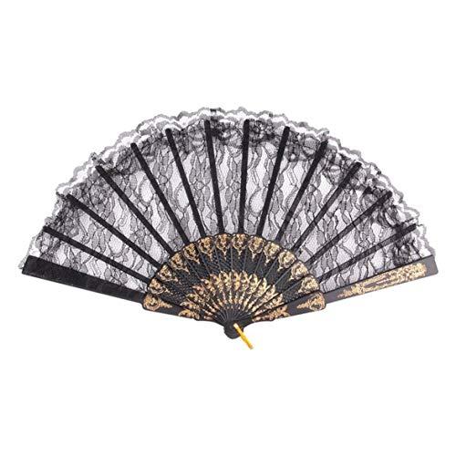 Tanzen Partei Kostüm - Kongqiabona Vintage wunderschöne Spitze Kostüm chinesischen Stil Kostüm Party Hochzeit tanzen Falten schwarzer Spitze Hand Fan