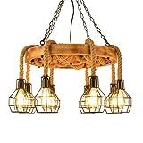 Pendelleuchten,Moderne LED-Kronleuchter Gestreifte Retro dreiköpfigen Vogel Kronleuchter aus Schmiedeeisen