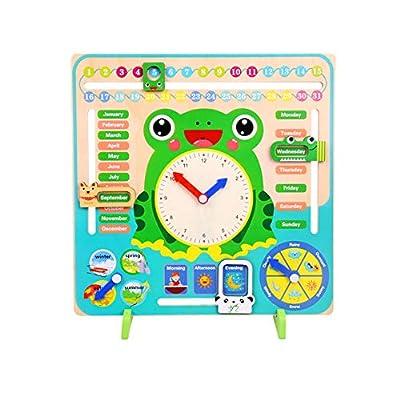 LAANCOO Reloj y Calendario para Niños Rana Reloj de Enseñanza de Hora Juguete Preescolar Educativo Relojes de Aprendizaje por LAANCOO