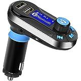 Transmetteur FM kit voiture mains libres Bluetooth Lecteur MP3 Radio adaptateur avec prise audio jack 3,5 mm, emplacement pour carte MicroSD, support USB Flash Drive