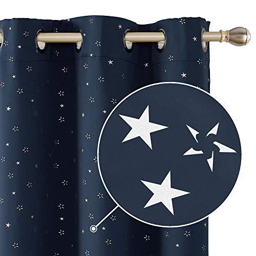 Deconovo Tende Oscuranti Finestre Soggiorno per Casa Stelle con Occhielli 140x260cm Blu Navy 2 Pannelli