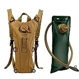 Zooron, serbatoio da 3 litri regolabile e durevole, per idratazione, zaino tattico da trekking, zaino per acqua, borsa per le spalle, zaino da bici, con sacca d'acqua, Khaki