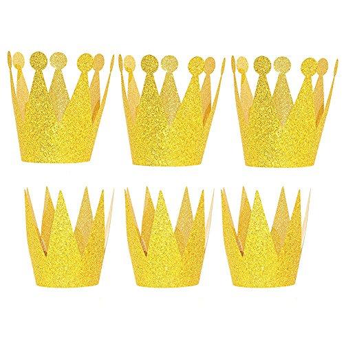 Hemore Geburtstag Hut Partei kleine Krone Gold 6 Packungen (3 Prinzen + 3 Prinzessin Modelle)