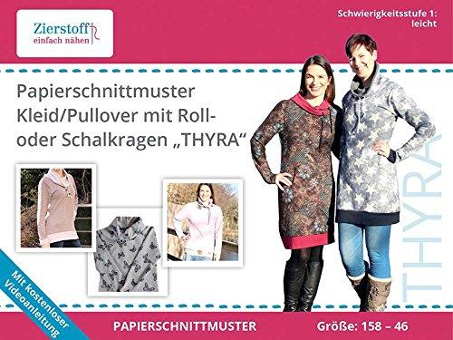 super popular ee554 07d85 Zierstoff Schnittmuster auf Papier für EIN Kleid oder Pullover mit  Rollkragen oder Schalkragen Thyra, Gr. 158 bis Damengr. 46