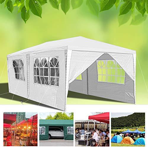 huigou Carpas 3x6M cenadores Jardin Carpa Impermeables Aire Libre Gazebo Incl. 6 Lados Removibles marquesina (Blanco)