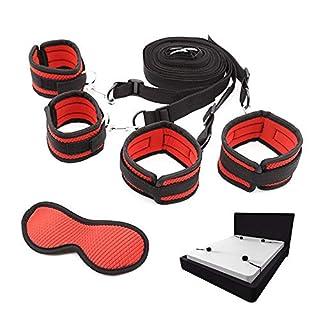 Ensemble de sangles fixes de luxe avec manchettes confortables et douillettes pour jeu de chambre à coucher, comprenant 1 masque pour les yeux (rouge)
