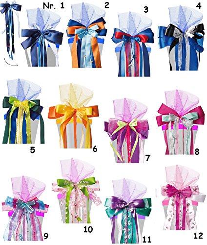 tüten - große 3-D Schleife -  rosa / pink - grün  - 24 cm breit u. 55 cm lang - mit edlen Satin Bändern, Tüll & Perlenband - für Geschenke und Zuck.. ()