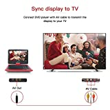 """DBPOWER 7.5"""" Portable DVD Player, 5 Hour Rechargeable Battery, Swivel Screen, Supports SD Card and USB, Direct Play in Formats AVI/RMVB/MP3/JPEG_Red"""